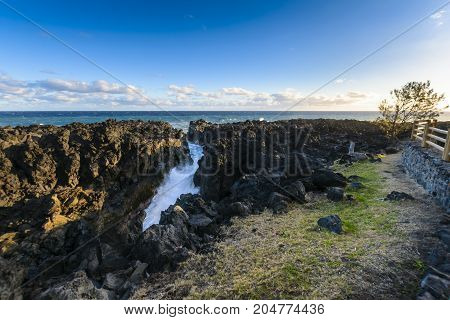 Natural Gulf In Volcanic Rock At Reunion Island