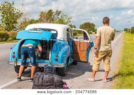 American Retro Car On The Road, Vinales, Pinar Del Rio, Cuba. Close-up.