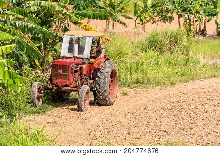 Tractor In The Field, Vinales, Pinar Del Rio, Cuba. Copy Space For Text.