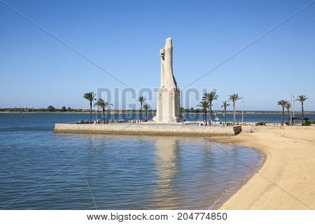 Christopher Columbus monument in the city of Huelva. Andalusia Spain