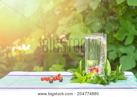 Cherry in a glass with mineral water spray in the sunlight