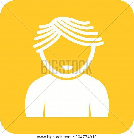 Hair, wavy, boy icon vector image. Can also be used for Avatars. Suitable for web apps, mobile apps and print media.
