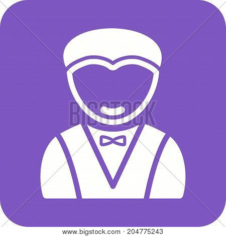 Waiter, serving, restaurant icon vector image. Can also be used for Avatars. Suitable for use on web apps, mobile apps and print media.