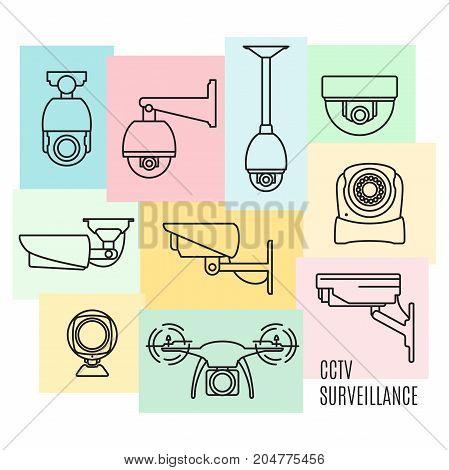 Vector set of video surveillance camera symbols, CCTV. Security icon set, thin line flat design.