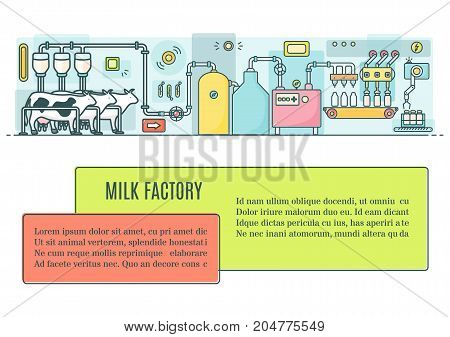 Milk factory concept vector illustration in modern thin line style for web banners, posters, flyers and printed materials. Dairy industry ad template.