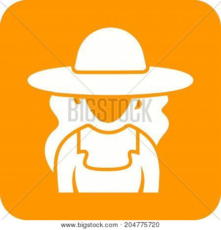 Girl, casual, hat icon vector image. Can also be used for Avatars. Suitable for mobile apps, web apps and print media.