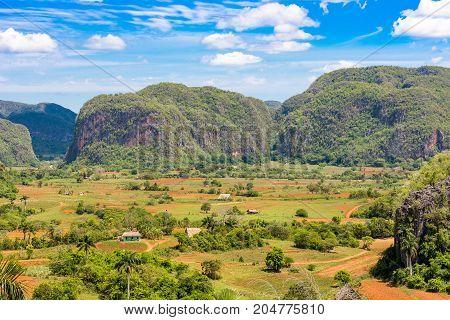 View of the Vinales valley Pinar del Rio Cuba. Copy space for text