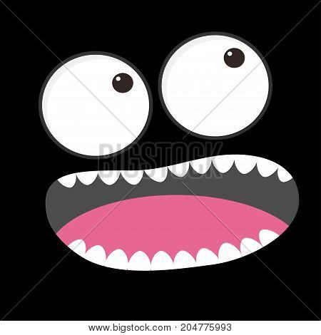 Sad face emotion. Boo spooky. Big eyes tooth tongue mouse. Square head. Happy Halloween card. Flat design style Black background. Vector illustration