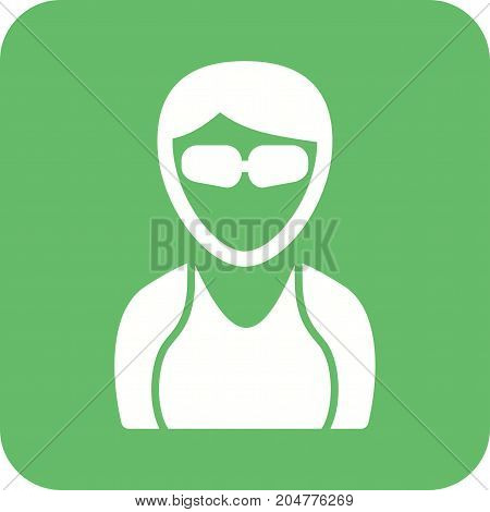 Girl, beautiful, cool icon vector image. Can also be used for Avatars. Suitable for use on web apps, mobile apps and print media.