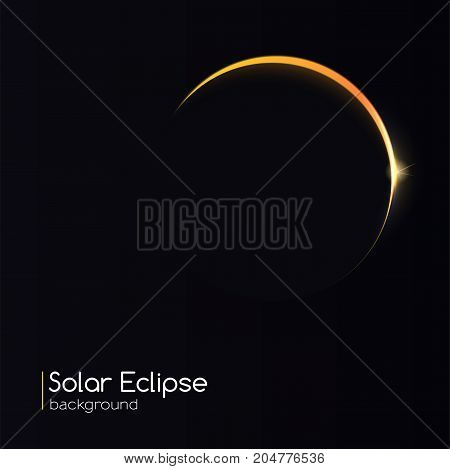 Abstract background with curved, shining light strip. Light rays on black backdrop with glow light effect. The planet covering the Sun in eclipse. Template for your cover, poster and cards.