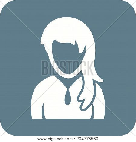 Girl, ponytail, teenage icon vector image. Can also be used for Avatars. Suitable for use on web apps, mobile apps and print media.