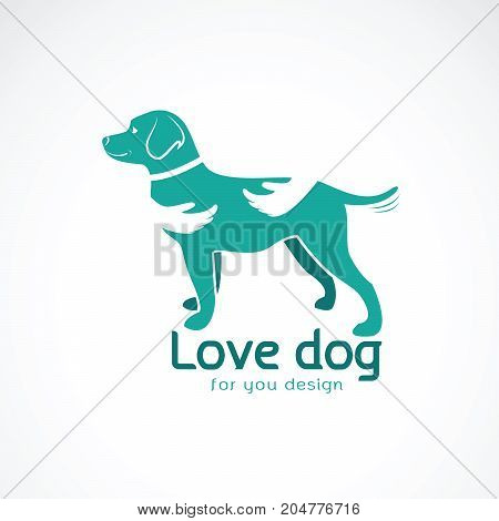 Vector of human hand that hugs the dog(Labrador) on white background. Pet. Animal. Dog Icon.