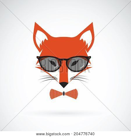 Vector of fox wearing glasses on white background. Animal fashion.