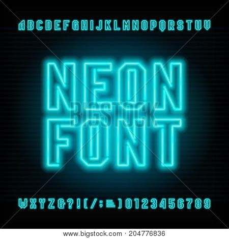 Neon tube alphabet font. Neon color type letters and numbers. Stock vector typeface for your headers or any typography design.