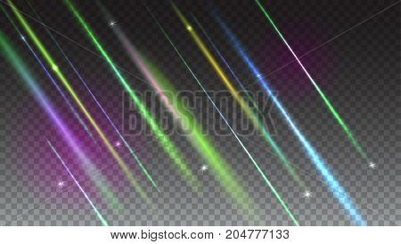 Abstract bright background with blurred light rays and lens flare. Dynamic digital, technology backdrop for breaking news or cover on transparent background