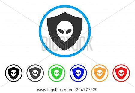 Alien Protection rounded icon. Style is a flat alien protection grey symbol inside light blue circle with black, gray, green, blue, red, orange color versions.
