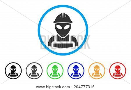 Alien Worker rounded icon. Style is a flat alien worker gray symbol inside light blue circle with black, gray, green, blue, red, orange color versions. Vector designed for web and software interfaces.