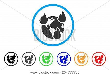 Earth Disasters rounded icon. Style is a flat earth disasters grey symbol inside light blue circle with black, gray, green, blue, red, orange versions. Vector designed for web and software interfaces.