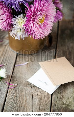Multicolor Aster Flowers Bouquet, Card With Words Together Always, Craft Paper Envelope On Rustic Wo