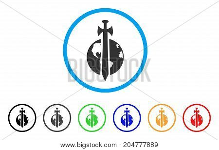 Earth Military Protection rounded icon. Style is a flat earth military protection gray symbol inside light blue circle with black, gray, green, blue, red, orange versions.