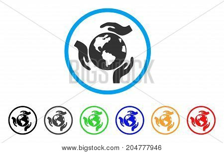 Earth Protection rounded icon. Style is a flat earth protection gray symbol inside light blue circle with black, gray, green, blue, red, orange variants.