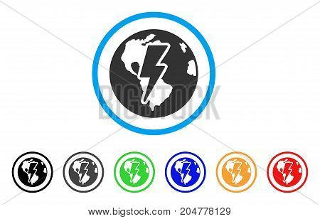 Earth Shock rounded icon. Style is a flat earth shock gray symbol inside light blue circle with black, gray, green, blue, red, orange variants. Vector designed for web and software interfaces.