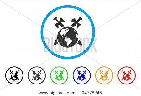 Earth Swords rounded icon. Style is a flat earth swords gray symbol inside light blue circle with black, gray, green, blue, red, orange variants. Vector designed for web and software interfaces.