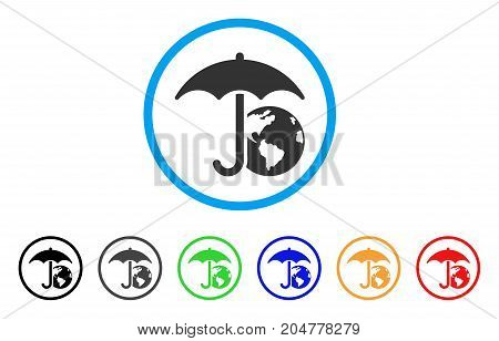 Earth Umbrella rounded icon. Style is a flat earth umbrella grey symbol inside light blue circle with black, gray, green, blue, red, orange variants. Vector designed for web and software interfaces.