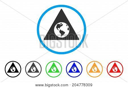 Earth Warning rounded icon. Style is a flat earth warning gray symbol inside light blue circle with black, gray, green, blue, red, orange variants. Vector designed for web and software interfaces.