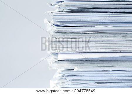 extreamely close up report paper stacking of office working document