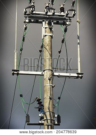 Electrical industry. High voltage line Electric cables