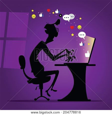 Dude sitting alone in the dark room and chatting in social media. Social media activity concept illustration