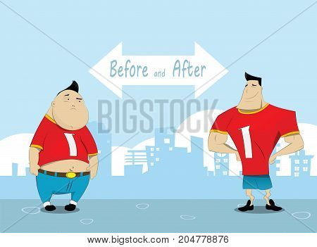 Man before and after training. Workout and healthy lifestyle concept illustration. Vector