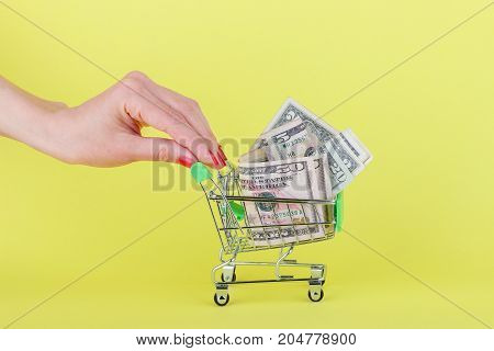 American Dollars In The Shopping Push Cart, Yellow Background