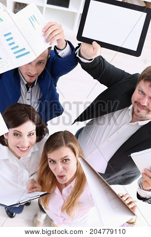 Group Of Joyful Happy People In Suits Celebrate Win