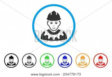 Industrial Builder rounded icon. Style is a flat industrial builder gray symbol inside light blue circle with black, gray, green, blue, red, orange variants.