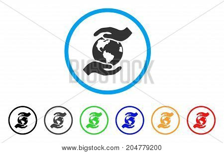International Care rounded icon. Style is a flat international care gray symbol inside light blue circle with black, gray, green, blue, red, orange color versions.
