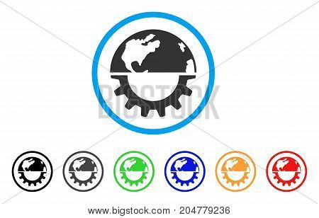 International Industry rounded icon. Style is a flat international industry gray symbol inside light blue circle with black, gray, green, blue, red, orange variants.