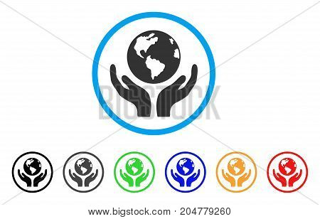 International Insurance rounded icon. Style is a flat international insurance gray symbol inside light blue circle with black, gray, green, blue, red, orange variants.