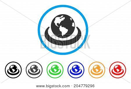 International Network rounded icon. Style is a flat international network grey symbol inside light blue circle with black, gray, green, blue, red, orange variants.