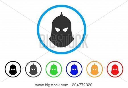 Knight Helmet rounded icon. Style is a flat knight helmet gray symbol inside light blue circle with black, gray, green, blue, red, orange color versions.