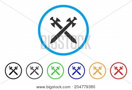 Medieval Swords rounded icon. Style is a flat medieval swords gray symbol inside light blue circle with black, gray, green, blue, red, orange versions. Vector designed for web and software interfaces.