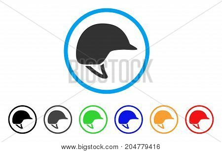 Motorcycle Helmet rounded icon. Style is a flat motorcycle helmet grey symbol inside light blue circle with black, gray, green, blue, red, orange versions.