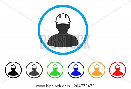 Person In Hardhat rounded icon. Style is a flat person in hardhat gray symbol inside light blue circle with black, gray, green, blue, red, orange variants.