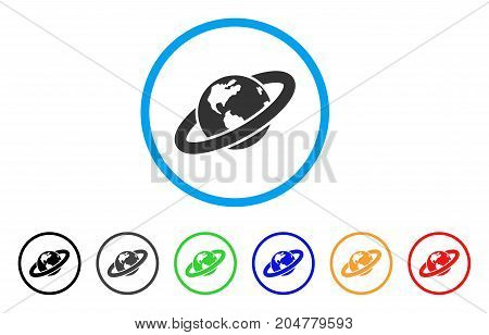 Ringed Planet rounded icon. Style is a flat ringed planet grey symbol inside light blue circle with black, gray, green, blue, red, orange color versions.