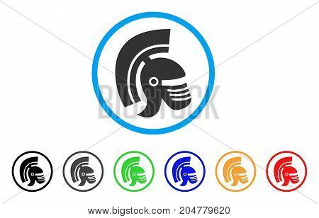 Rome Helmet rounded icon. Style is a flat rome helmet grey symbol inside light blue circle with black, gray, green, blue, red, orange variants. Vector designed for web and software interfaces.