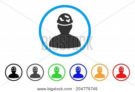 Soldier Under Spotted Helmet rounded icon. Style is a flat soldier under spotted helmet gray symbol inside light blue circle with black, gray, green, blue, red, orange color versions.