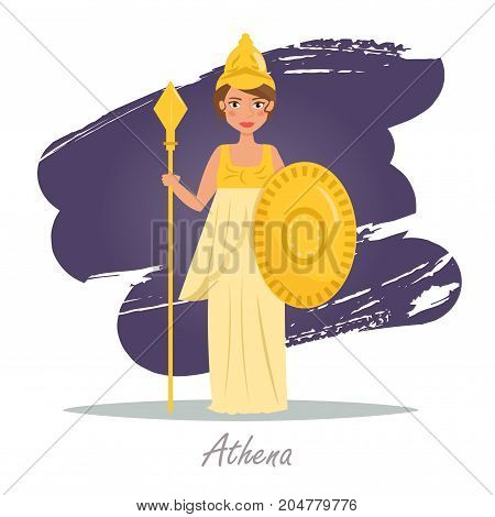 Athena. Greek gods. Vector illustration. Cartoon character Isolated Flat Mythology