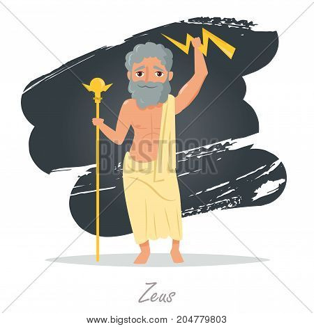 Zeus. Greek gods. Vector illustration. Cartoon character Isolated Flat Mythology