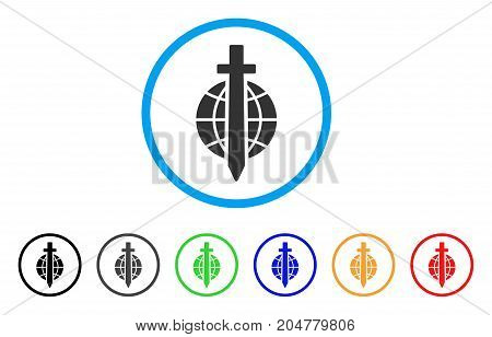 Sword Globe rounded icon. Style is a flat sword globe grey symbol inside light blue circle with black, gray, green, blue, red, orange versions. Vector designed for web and software interfaces.